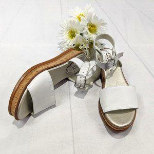 LUCCA LANE Cream&Gold Kameron Leather Cork Wedges